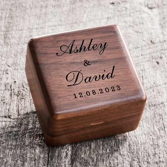 Beautiful Personalized Wood Ring Box Tree Wedding Engagement Proposal Ring Holder Bearer Box Engraved Wooden Round Floral Romantic