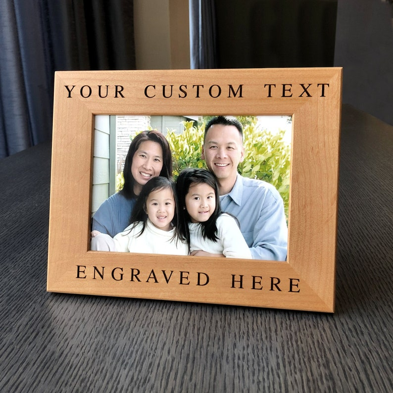 Personalized Frame Custom Engraved Wood Picture Frame Gift For Family Wedding Frame Newlywed Gift 4x6 5x7 Custom Wood Picture Frame