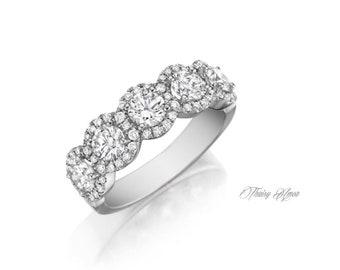 14K Rose/White/Yellow Gold Halo Diamond Wedding Band With Natural Diamonds