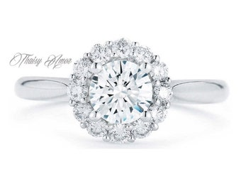 1.00 CT Round Cut Moissanite Halo Engagement Ring In Solid 14k White Gold Lab Created Simulated Diamond Engagement Ring