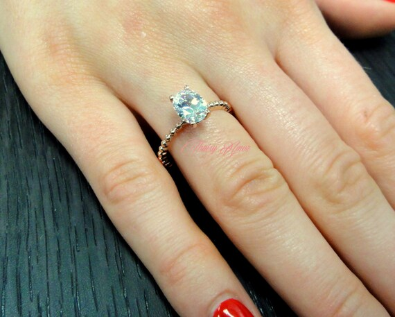 69dfdd4de9673 1.00 CT Oval Cut Solitaire Engagement Ring In Solid 14k Rose Gold Man Made  Synthetic Simulated Diamonds Lab Created Bridal Engagement Ring