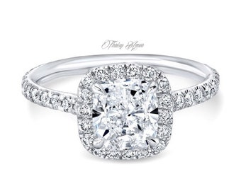 1.00 CT Cushion  Cut Moissanite Halo Engagement Ring In Solid 14k White Gold Lab Created Simulated Diamond Engagement Ring