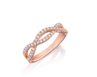 14K Rose/White/Yellow Gold Twist Diamond Wedding Band With Natural Diamonds