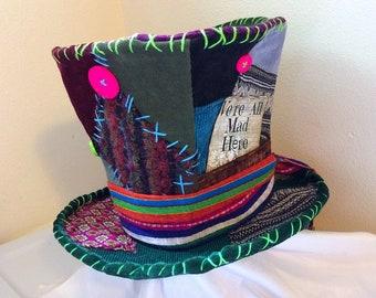 da5618d6d8ba87 Mad Hatter hat, Burning man, Top Hat, costume hat, Festival accessories,  hippie corduroy patchwork, handmade top hat