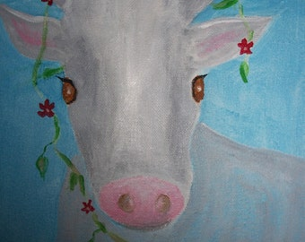 Bossy, the Cow original acrylic painting on canvas