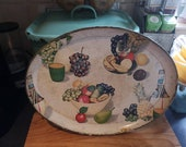 Vintage 1950s Italian hand painted and Transferware wooden Tray Souvenir ware
