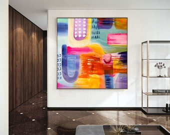 Modern Acrylic Painting - Huge Wall Art, Apartment Decor, Original Paintings On Canvas, Anniversary Gift, Handmade Abstract Painting, DMS012