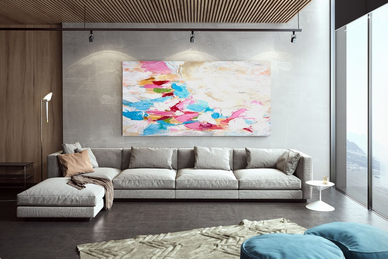 Abstract Painting on Canvas Original Oversize Painting  LaS536 Extra Large Wall Art Contemporary Art