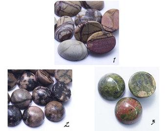 Natural jasper cabochon round oval 12 mm 10 mm 18 mm green brown beige