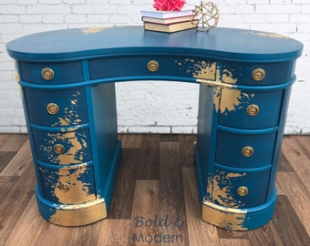 SOLD - please use as inspiration for custom paint service. Hand painted desk, peacock blue, gold leaf splatters, chalk paint teal blue