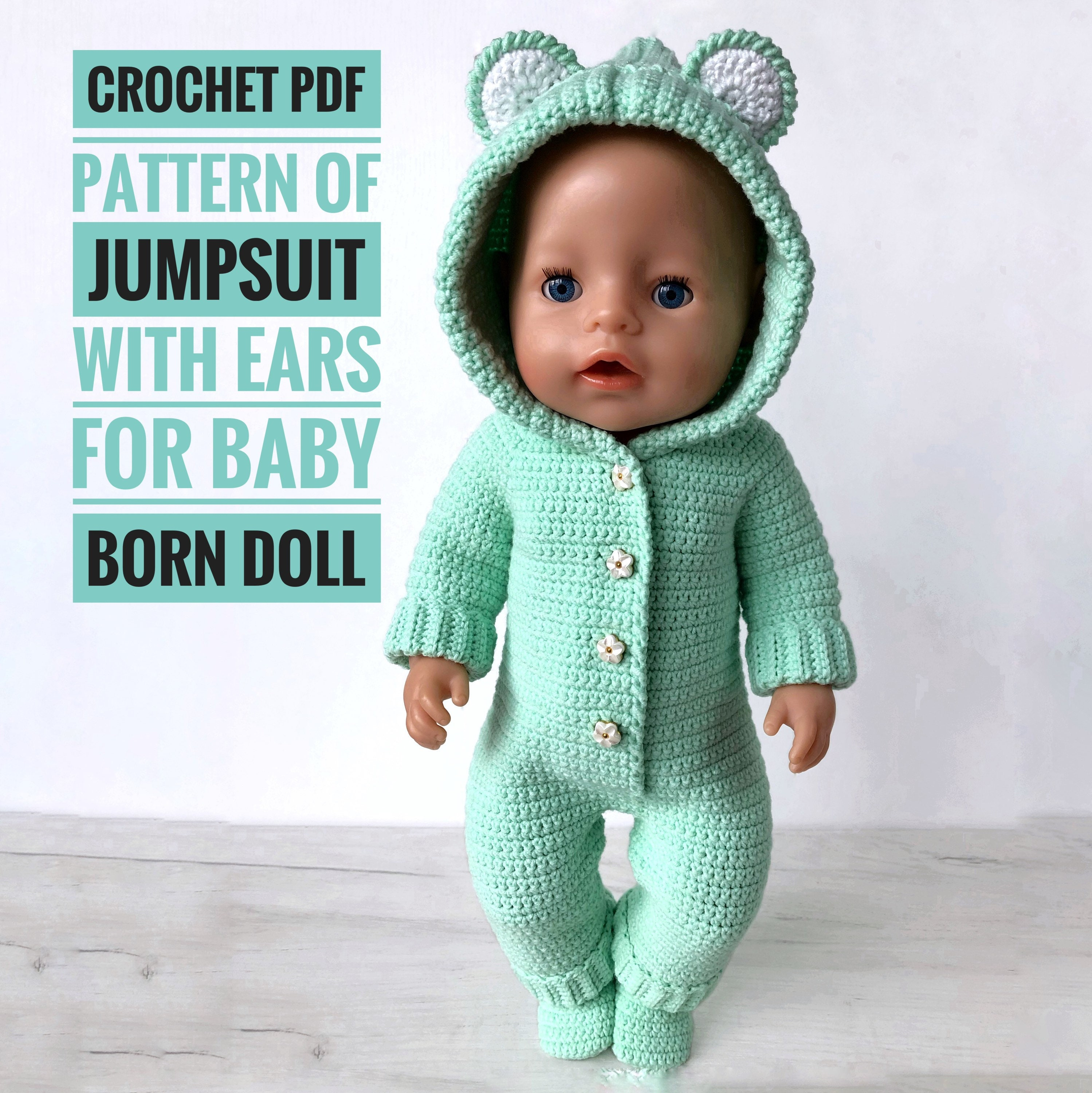 Crochet PDF Pattern of jumpsuit with ears for baby born doll (babyborn doll), baby born pattern