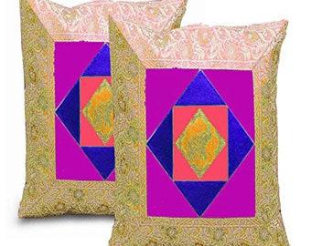 16  Elephant Aari Zari Vintage Decorative PillowCushion Cover Purple