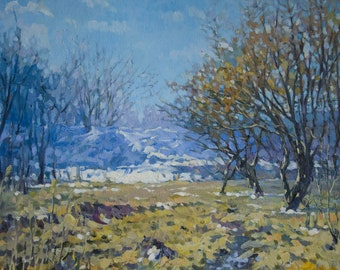 """Oil painting  canvas art original painting on canvas""""Spring mood"""",park in the spring,sun,snow,trees,realism,impressionism"""