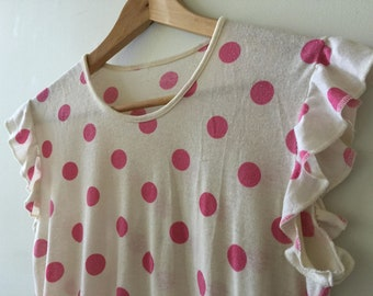 80s vintage ruffled singlet/cami spotted pink