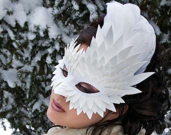 White Feather Mask, Masquerade Masks Women, Burning Man, Faux Leather Mask, Bird Mask, Mardi Gras Masks, Wedding Mask -  MADE TO ORDER