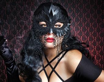 Black Chainmail Unisex Mask, Masquerade Mask, Masquerade Masks Women,  Bird Mask, Mardi Gras Masks, Fetish Mask