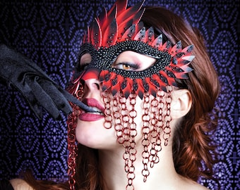 Red and Black Chainmail Unisex Mask, Masquerade Mask, Masquerade Masks Women,  Bird Mask, Mardi Gras Masks, Fetish Mask