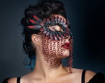 Red Tipped Chainmail Unisex Mask, Masquerade Mask, Masquerade Masks Women,  Bird Mask, Mardi Gras Masks, Fetish Mask - READY TO SHIP