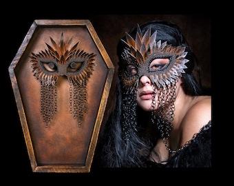 Bronze Coffin Frame Set Mask, fetish mask, chainmail mask, masquerade mask, mardi gras mask, unisex masquerade mask - READY TO SHIP