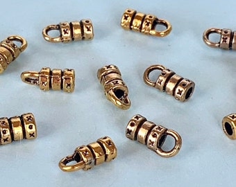 829574cead 12 Antique Gold End Caps for 2mm Leather Cord for jewelry, crimp, DIY,  Sundance style