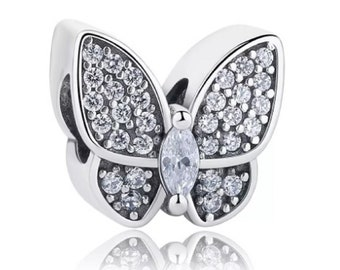FeatherWish 925 Sterling Silver 925 Butterfly Charm With Cubic Zirconia For Pandora CUCyi
