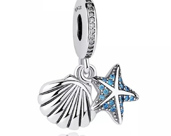 09dffb32a Starfish Sea Shell Pendant Dangle Charm Made From Sterling Silver 925 With  Cubic Zirconia Fits Pandora Bracelet - From FeatherWish