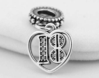 aacc37e43 18th Birthday Celebration Time Genuine Sterling Silver 925 Charm With Cubic  Zirconia Fits Pandora Bracelet