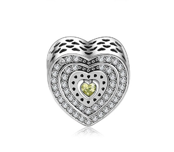 Sterling Silver Polished LOVE CZ Heart Charm