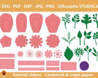 08 Giant Paper Flowers template SVG-  Diy paper flowers template- Printable Templates
