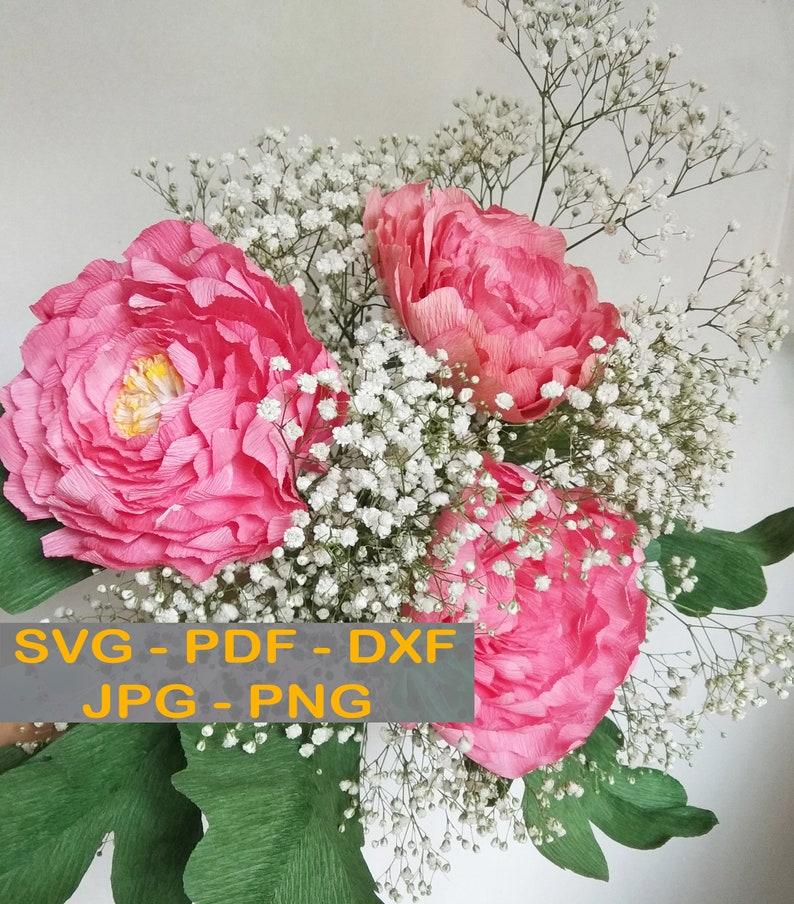Crepe Peony Bouquet Crepe Paper Flowers Templates Crepe Flower Svg Pdf Dxf Jpg Png For Cricut Silhouette
