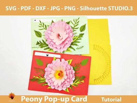 3d Pop Up Greeting Card Diy Flower Pop Up Card Printable Etsy