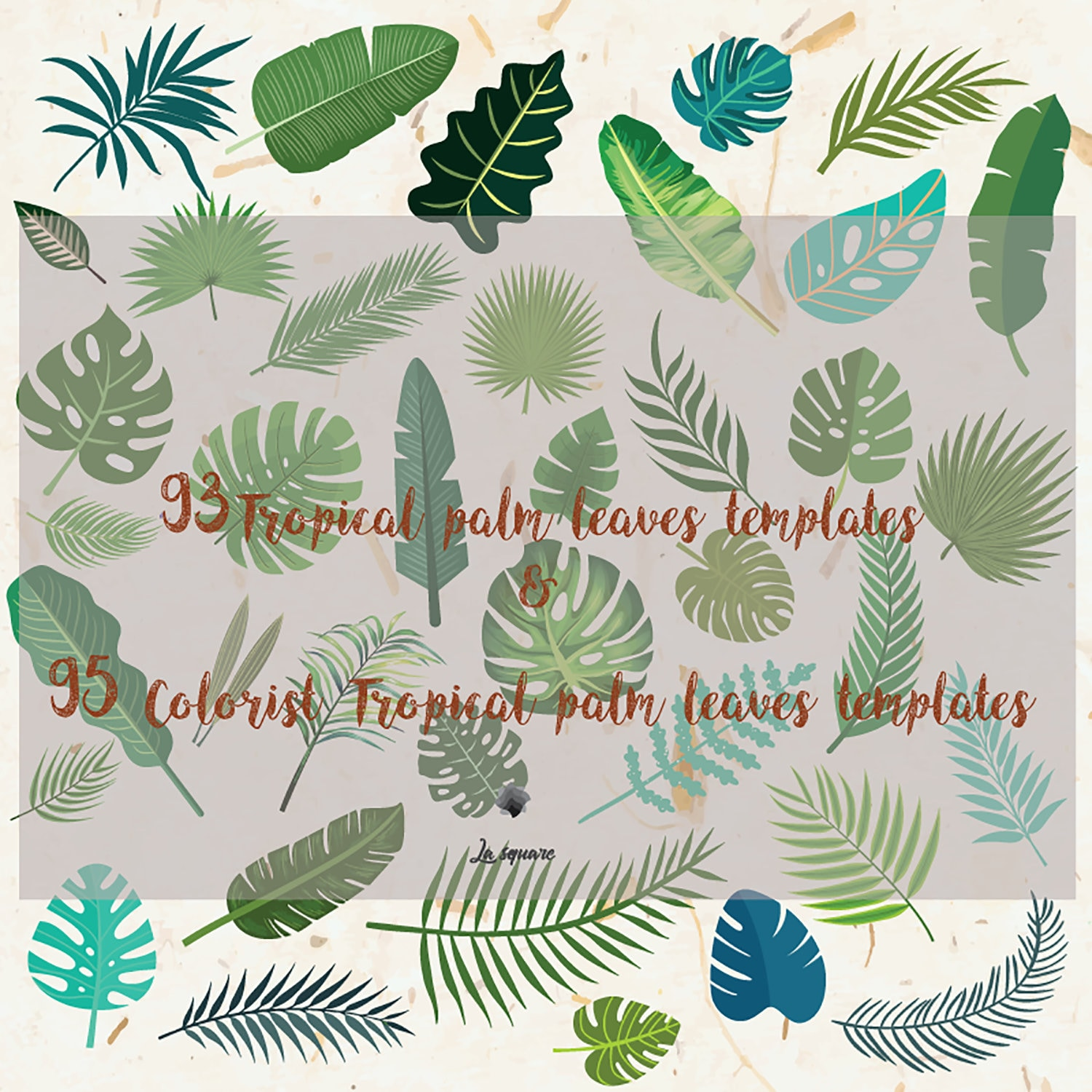 New Svg Dxf Pdf Jpg Png 93 Tropical Palm Leaves Templates Etsy
