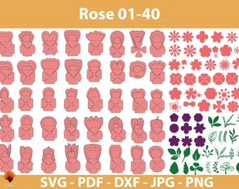 40 Rose Paper flower templates, Paper Roses svg, Paper Flower SVG, Giant Paper Roses, Rose Paper Flowers bouquet, Flower Templates SVG