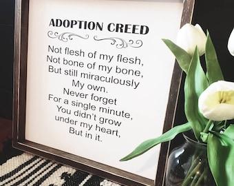An adoption Creed sign