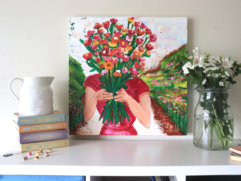 Hands Full of Flowers 24 inch x 24 inch Original Acrylic Art image 0