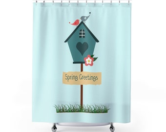 Spring Decor Greetings Holiday Shower Curtains Easter Decoration Love Birds Birdhouse