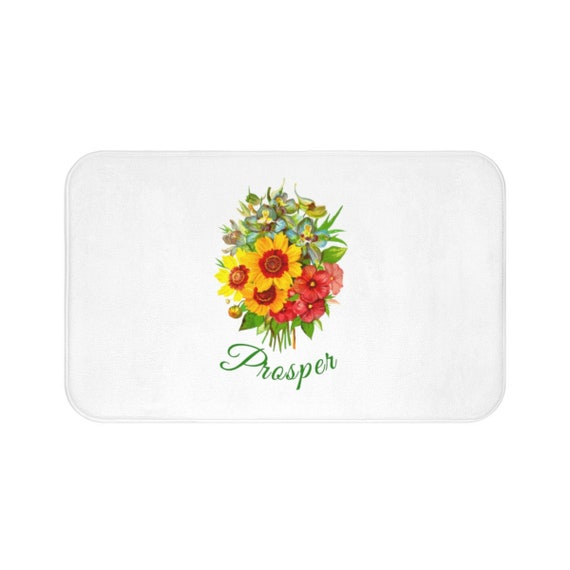 Floral Bath Mat Uplifting Bathroom Decor Sunflower Bouquet Bath Mat