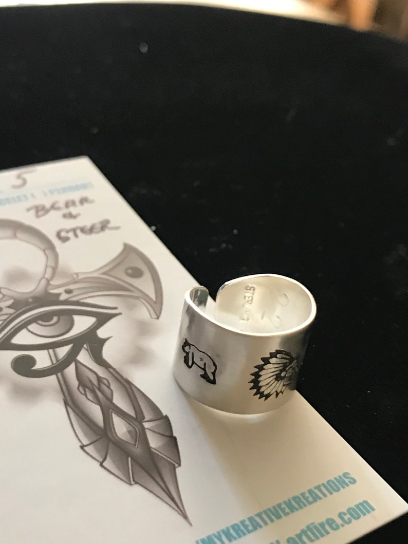 Sterling SilverOpen Back Tapered Hand Stamped Indian Chief Centered with a Bear /& Steer on sides sz.5 #Sr-120 or sz.5 12 #SR-121