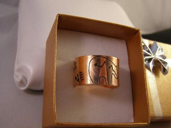 Copper Adjustable Open Back Hand Stamped NAUTICAL SYMBOLS sz.11-13 Adjustable Boho Ring Band #CR-022