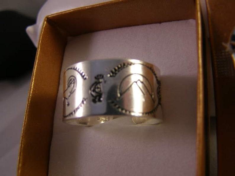 Sterling .925 Adjustable Open Back Hand Stamped NAVAJO-Mountains-Zuni Bear-howling Wolf-Tree-Kokopeli sz.13-15 Adjustable Ring Band #SR-042