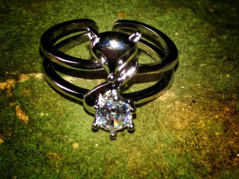Haunted Female Kitsune Familiar Companion Shapeshifter stainless ring sz.7