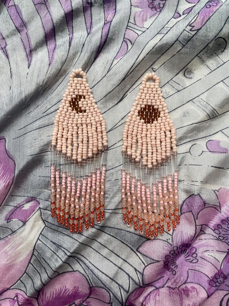 Pink Golden Hour Moon Sun Beaded Earrings Dangle Fringe