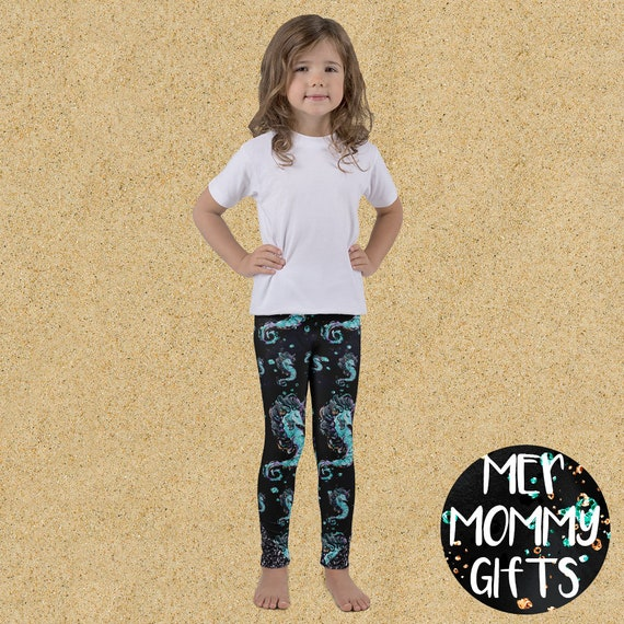 Yoga Pants Seahorse Ocean Print Mermaid Leggings For Kids
