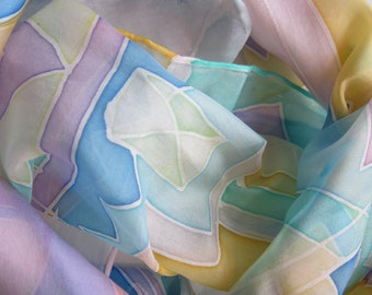 Pastel geometric silk scarf
