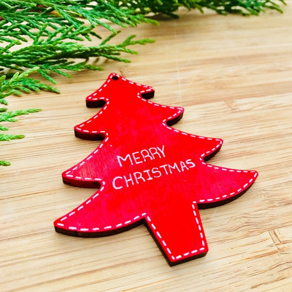 Red Christmas Tree Decoration Wooden Hanging Tree Merry Christmas Decor Red And White Xmas Theme Hanging Tree Ornament Monochrome