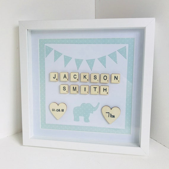 Baby Box Frame Birth Stats Frame Frames Baby Name Shadow Etsy