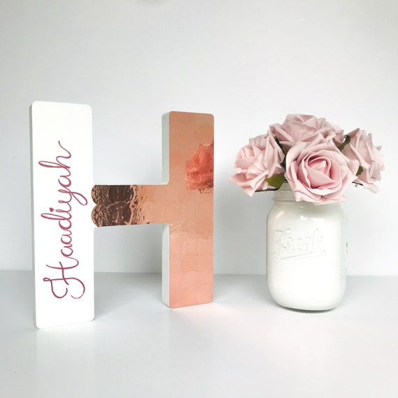 Rose Gold Foil Wooden Letter Rose Gold Bedroom Decor Elegant Etsy