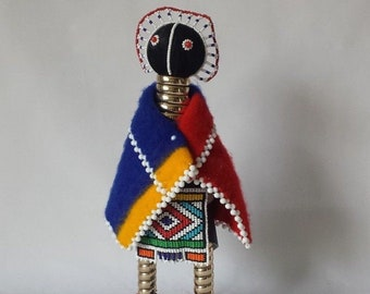 """Vintage 14"""" Tall Ndebele South African Beaded Initiation Doll VG Condition"""