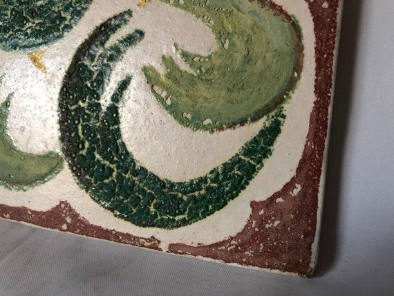 Mid Century 1950/'s Original Artist Signed Majolica Tile w Technique Notes 5 12