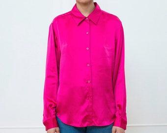 aed38a60 90s red liquid silk blouse large | raspberry fuchsia silk collared button  down shirt | minimalist blouse | minimal shiny wine red blouse